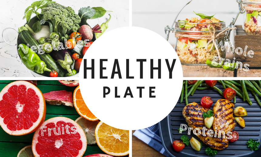 What foods should be part of a healthy plate?